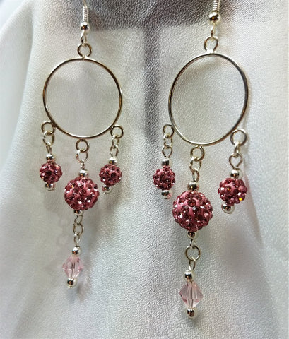 Round Chandelier Earrings with Pink Pave Beads and Swarovski Crystals