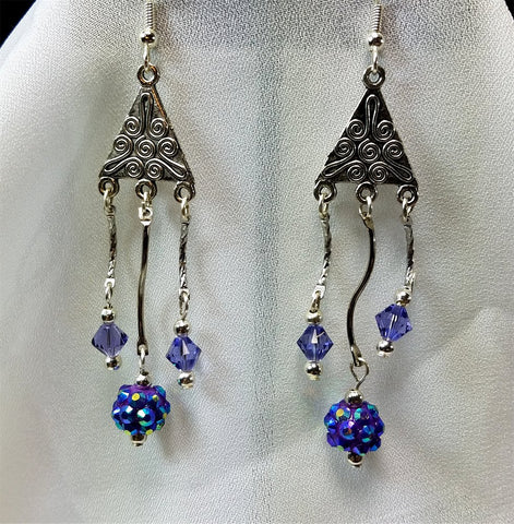 Purple Rhinestone and Swarovski Crystal Chandelier Earrings