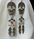 Skulls and Feathers Chandelier Earrings