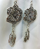 Large Metal Flower with Leaf Charm Dangle Earrings