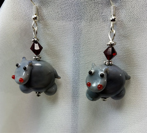 Hippopotamus Earrings with Red Swarovski Crystals