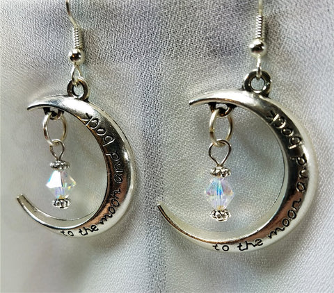 To The Moon and Back Earrings with AB Crystal Dangles