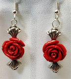 Glass Rose Bead Drop Earrings