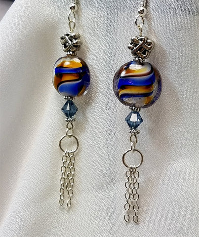 Brown and Blue Lampwork Glass Lentil Bead with Chain Dangles