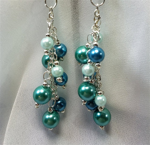 Cascading Glass Pearls in Blue Earrings