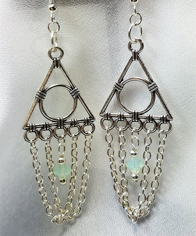 Geometric Chandelier Earrings with Chain and Light Green Opal Swarovski Crystals