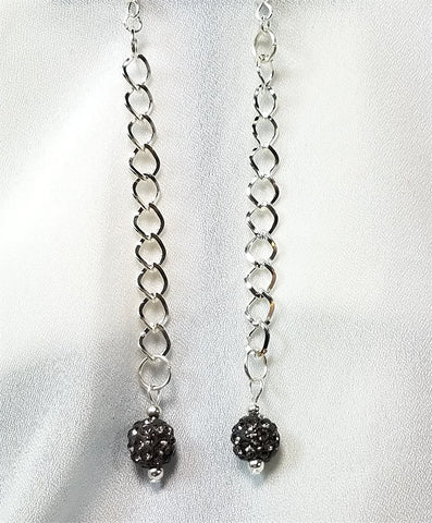Gray Pave Bead Long Dangle Earrings