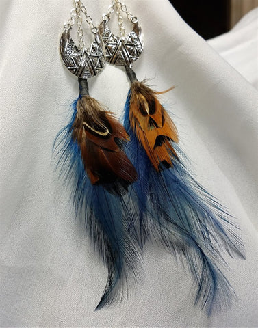 Silver Metal Piece and Brown and Blue Feather Dangle Earrings