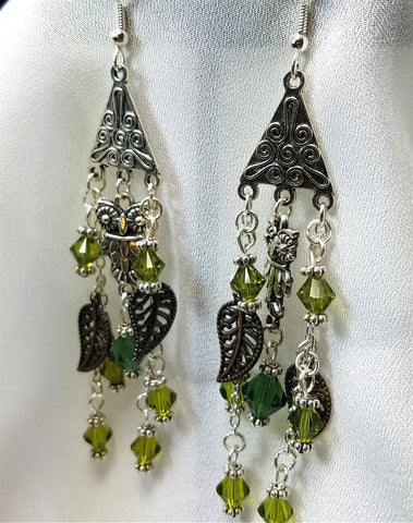 Owl Chandelier Earrings with Swarovski Crystal and Leaf Charm Dangles