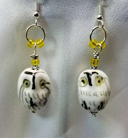 White, Black and Yellow Glass Owl Earrings with Yellow Beads