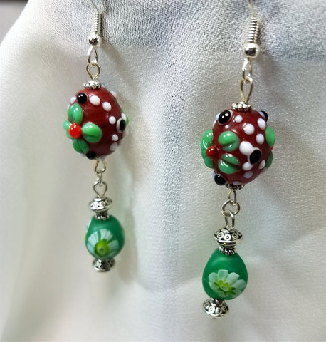 Lampwork Style Flower Glass Bead Dangle Earrings