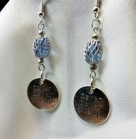 Never Never Give Up Dangle Earrings with Mesh Covered Glass Beads