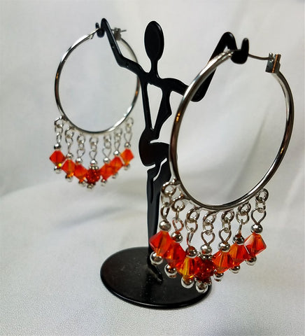 Hoop Chandelier Earrings with Fire Opal Swarovski Crystals and Orange Pave Beads