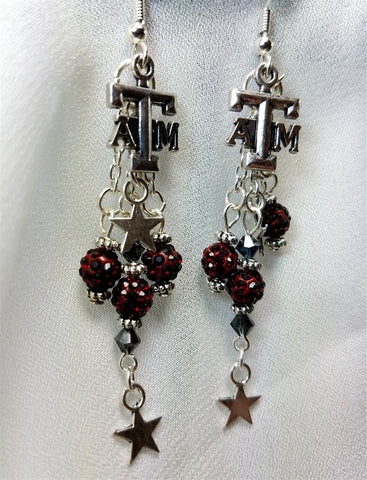 Texas A&M Dangling Earrings with Deep Red Pave Beads and Star Charms