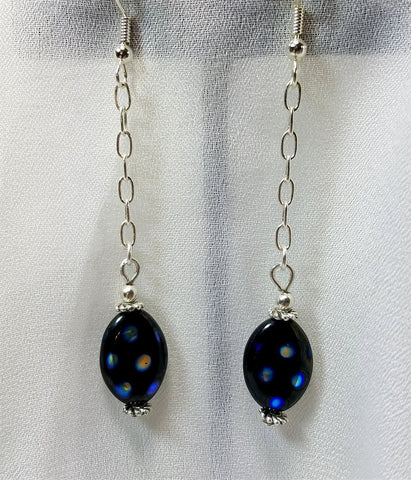 Oil Slick Polka Dot Black Glass Bead Earrings