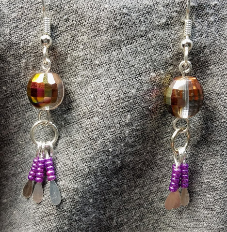 AB Fire Polished Czech Glass Bead Earrings with Seed Bead Dangles