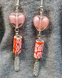 Glass Heart and Fimo Clay Flowered Bead Dangle Earrings with Chain Fringe