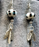White with Blue and Black Polka Dots Lampwork Glass Rondelle Bead with Feather Charm Dangles