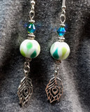 Polka Dot Glass Bead Earrings with Peacock Feather Charm Dangles