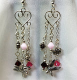Heart Chandelier Earrings with Silver Metal Charm and Swarovski Crystal Dangles