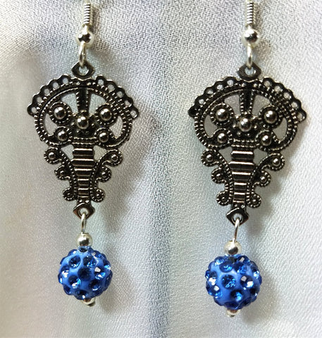 Ornate Chandelier Earrings with Blue Pave Bead Dangles