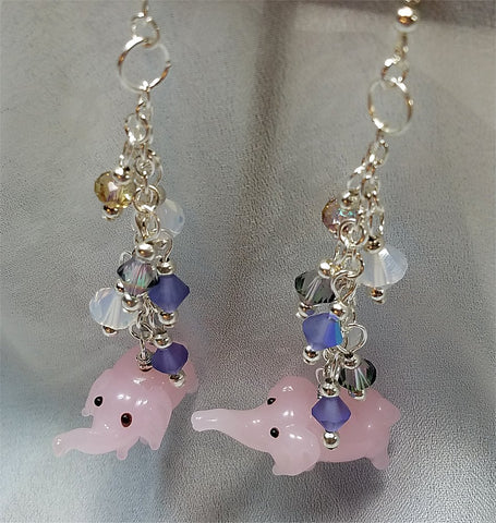 Pink Elephant Lampwork Style Glass Bead Earrings with Sparkling Dangles