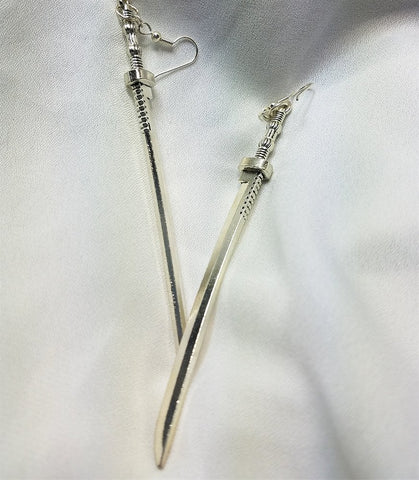 Long Samurai Sword Charm Earrings