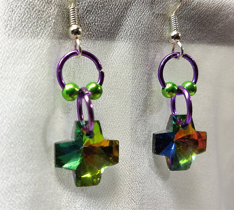 Cross Crystal Dangle Earrings