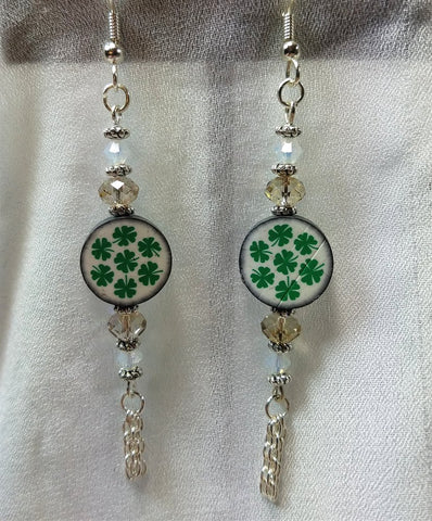 Shamrock Fimo Clay Beads Dangle Earrings with Crystal and Chain Dangles