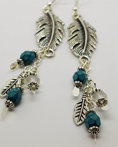 Feather Charm and Glass Beads, Chain Cascading Earrings