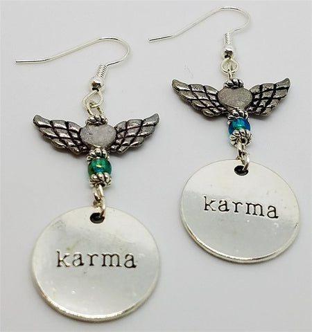 Karma Dangle Earrings with Birds and Metal Winged Heart Beads