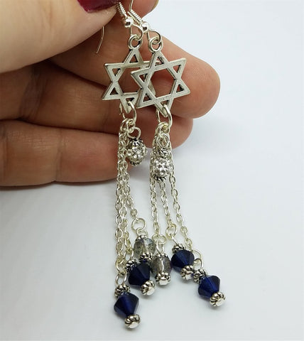 Star of David Earrings with Dangles