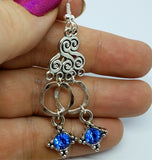 Silver Chandelier Earrings with Blue Crystal Charms