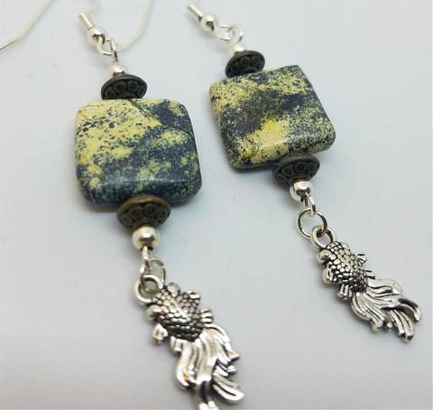 Moss Agate Chicklet Drop Earrings with Goldfish Charm Dangles
