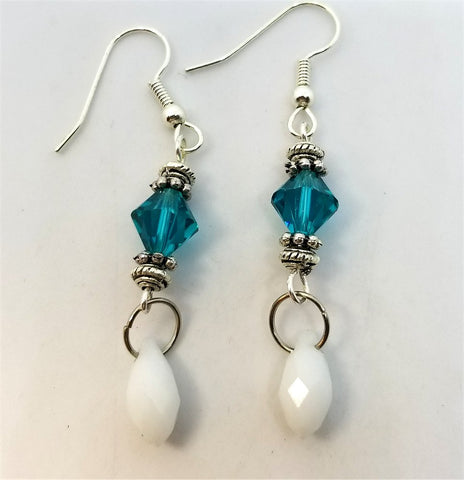 Teal and White Alabaster Swarovski Crystal Dangle Earrings