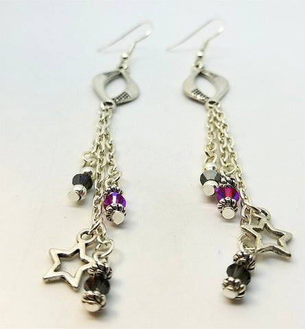 Dangle Earrings with Swarovski Crystal and Star Charm Dangles