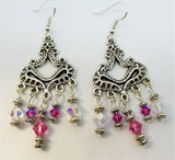 Fuchsia and Clear AB Swarovski Crystal Chandelier Earrings