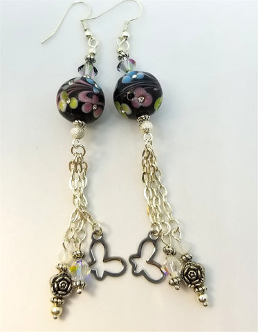 Round Black Glass Bead with Flowers and Crystal Rhinestones Dangle Earrings with Swarovski Crystal and and Metal Charm Dangles