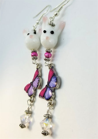 Bunny and Butterfly Earrings with Swarovski Crystal Dangles