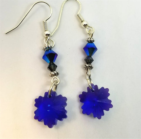 Snowflake and Swarovski Crystal Dangle Earrings