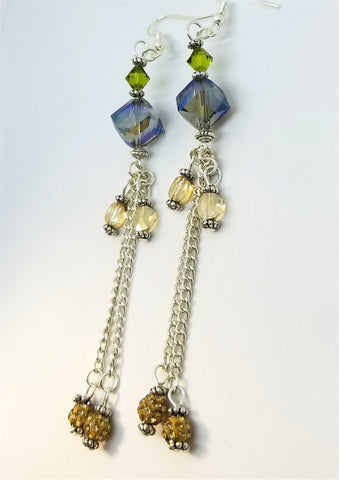 Faceted AB Glass Bead Dangle Earrings with Swarovski Crystal and Pave Bead Dangles