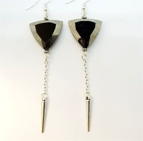 Rounded Triangle Silver Glass Beads with Small Spike Charm Dangles