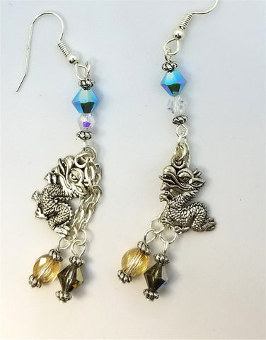 Dragon Charm Dangle Earrings with Swarovski Crystals