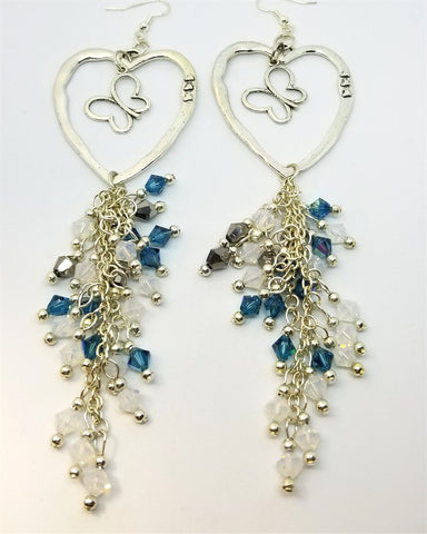 Butterfly and Heart Charm Earrings with Elaborate Gorgeous Swarovski Crystal Dangles