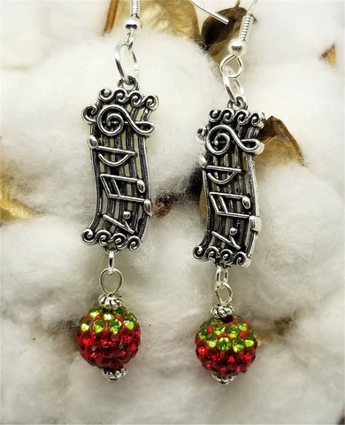 Christmas Carol Earrings with Red and Green Pave Bead Dangles