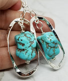 Twisted and Hammered Hoop with Turquoise Colored Magnesite Dangle Earrings