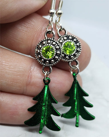 Green Metal Christmas Tree Charm Earrings with Green Crystal Charms