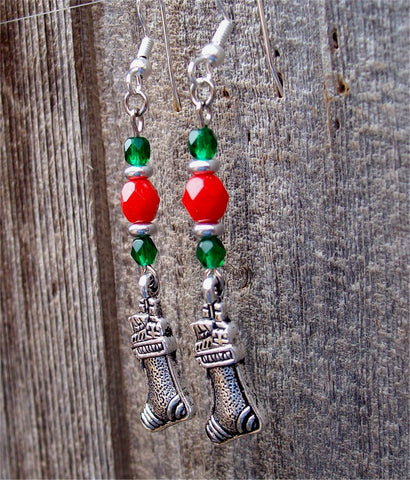 Red and Green Glass Bead Earrings with Stocking Charm Dangles