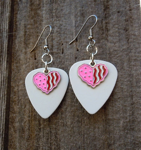 Pink and Red Heart Charm on White Guitar Pick Earrings