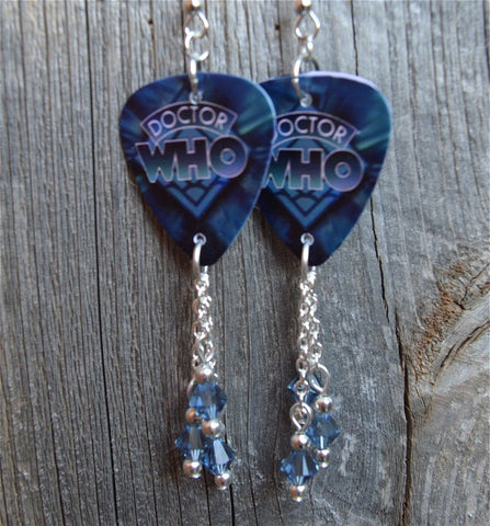 Dr. Who Guitar Pick Earrings with Blue Swarovski Crystal Dangles